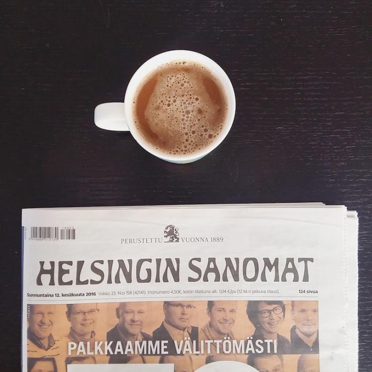 Helsingin Sanomat, Hesari, HS, aamukahvi, kahvikuppi, Janina Pohja, Fit Times